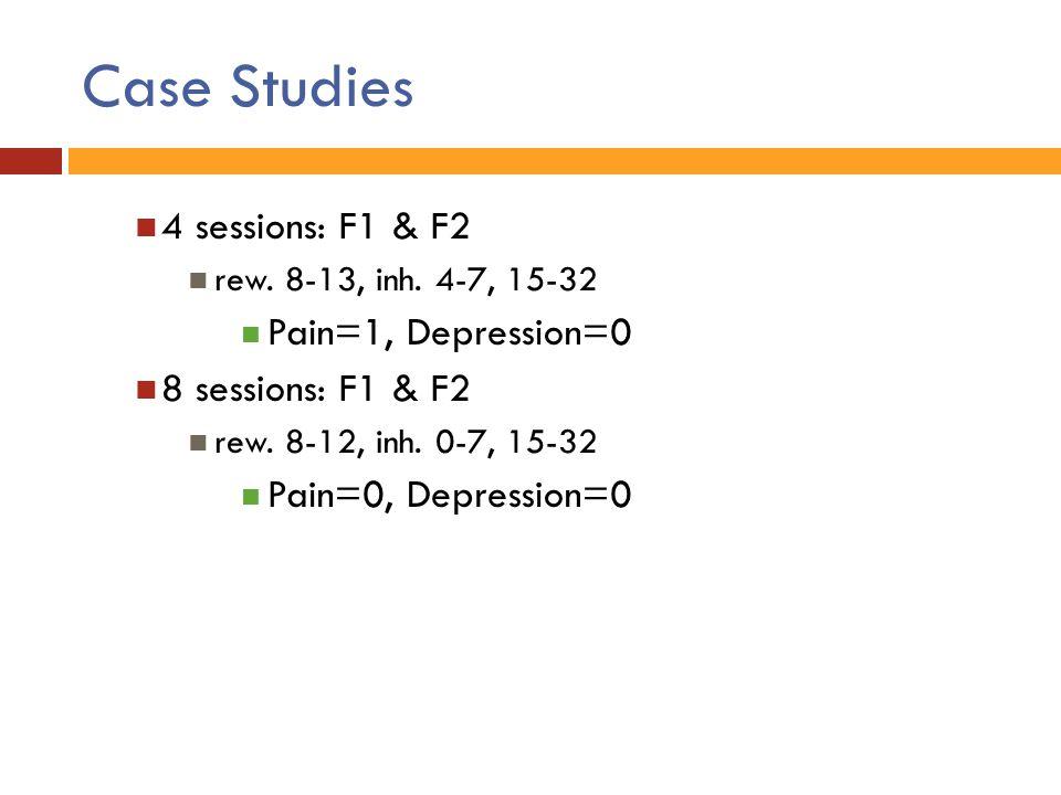 Case Studies 4 sessions: F1 & F2 Pain=1, Depression=0