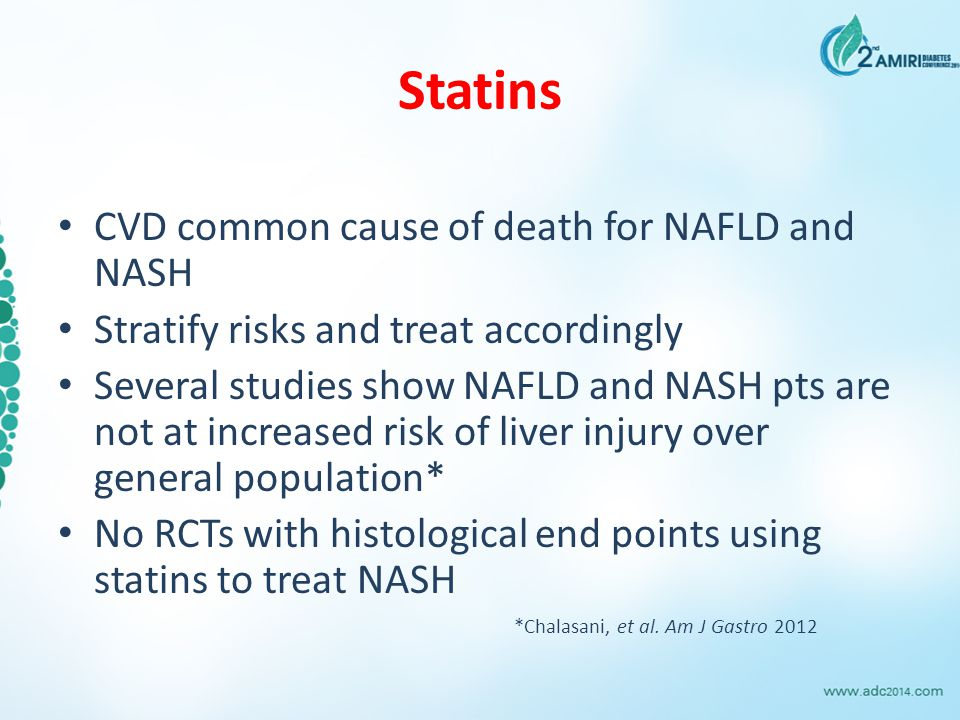 Statins CVD common cause of death for NAFLD and NASH