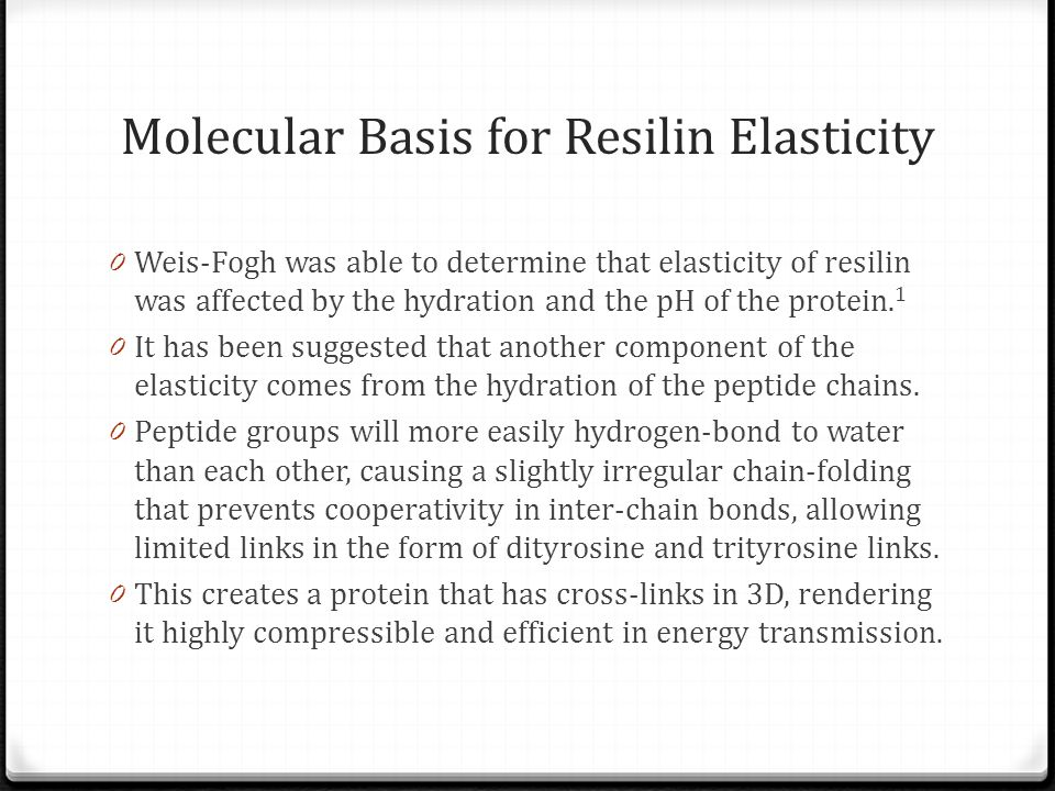 Molecular Basis for Resilin Elasticity