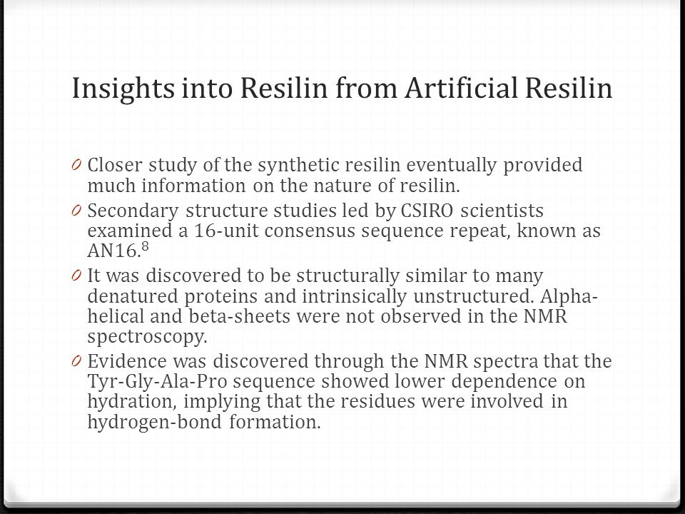 Insights into Resilin from Artificial Resilin