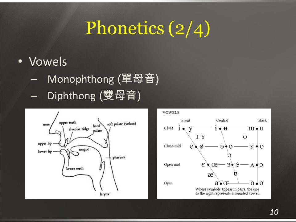 Phonetics (2/4) Vowels Monophthong (單母音) Diphthong (雙母音)
