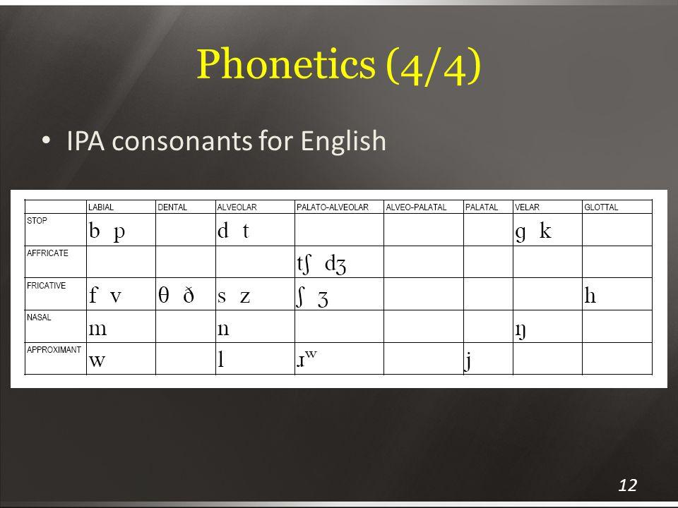 Phonetics (4/4) IPA consonants for English