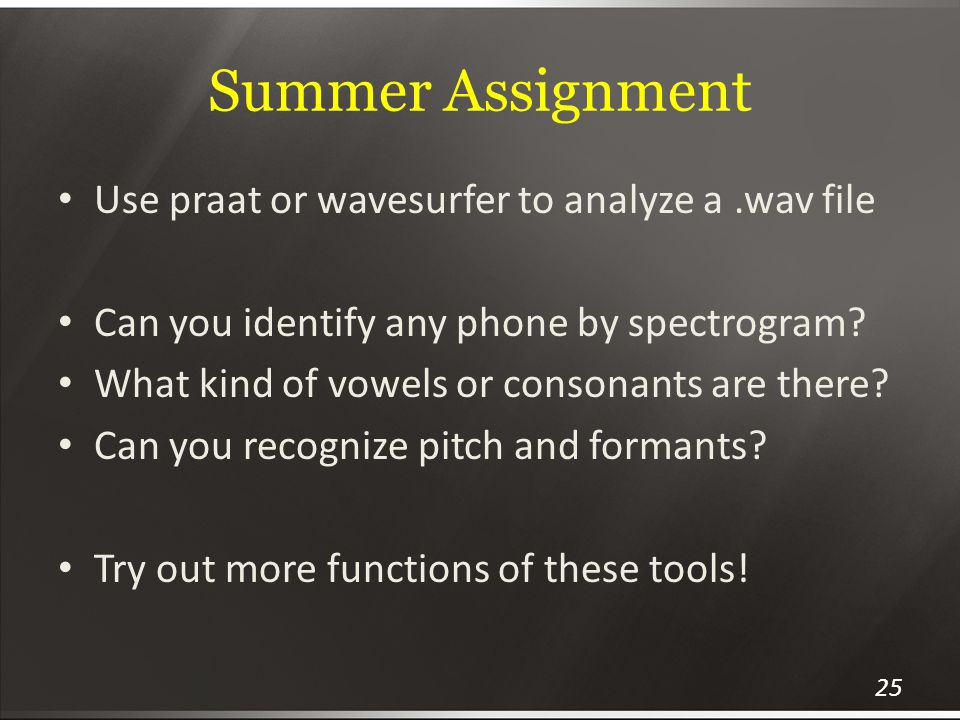 Summer Assignment Use praat or wavesurfer to analyze a .wav file