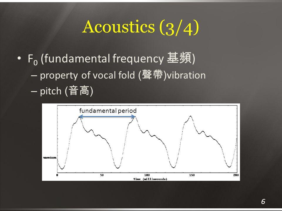 Acoustics (3/4) F0 (fundamental frequency 基頻)