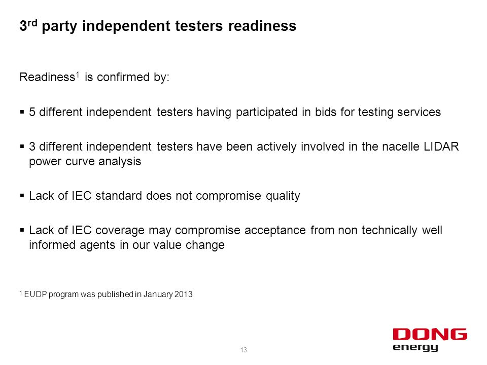 3rd party independent testers readiness