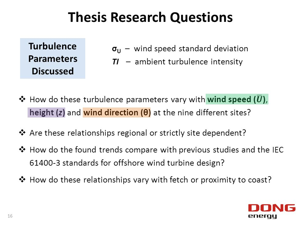 Thesis Research Questions Turbulence Parameters