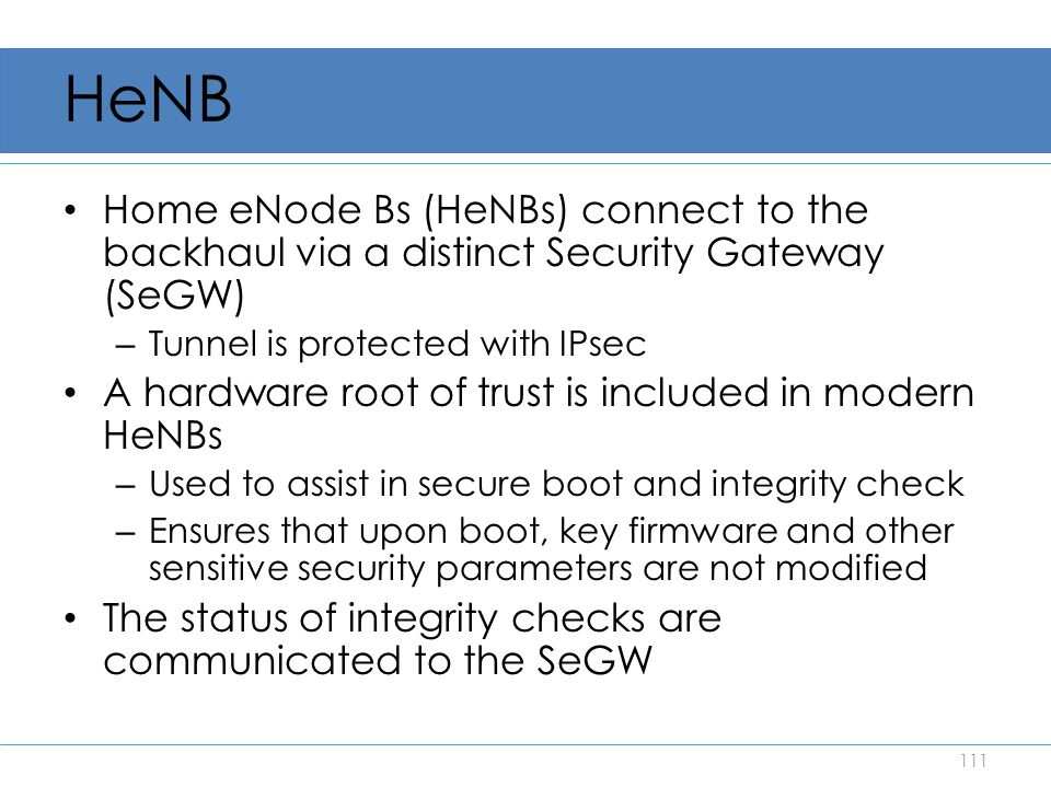 HeNB Home eNode Bs (HeNBs) connect to the backhaul via a distinct Security Gateway (SeGW) Tunnel is protected with IPsec.