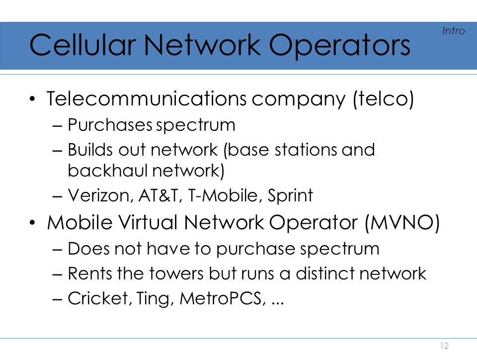 Cellular Network Operators