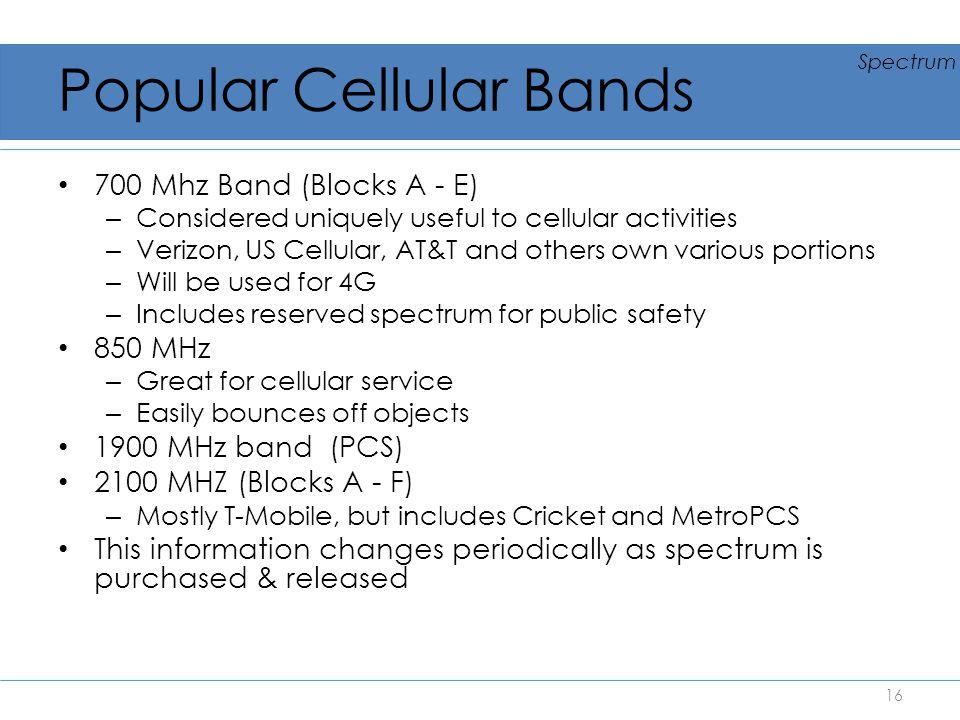 Popular Cellular Bands