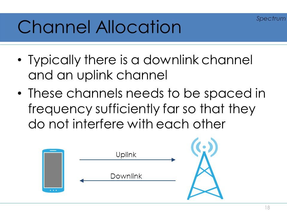 Channel Allocation Spectrum. Typically there is a downlink channel and an uplink channel.