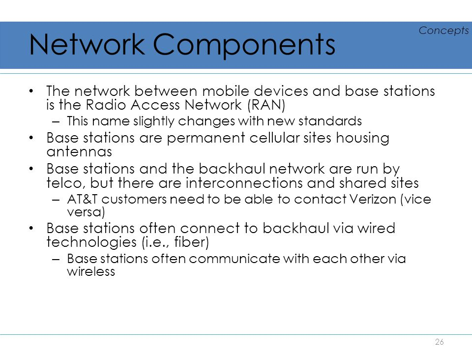 Network Components Concepts. The network between mobile devices and base stations is the Radio Access Network (RAN)