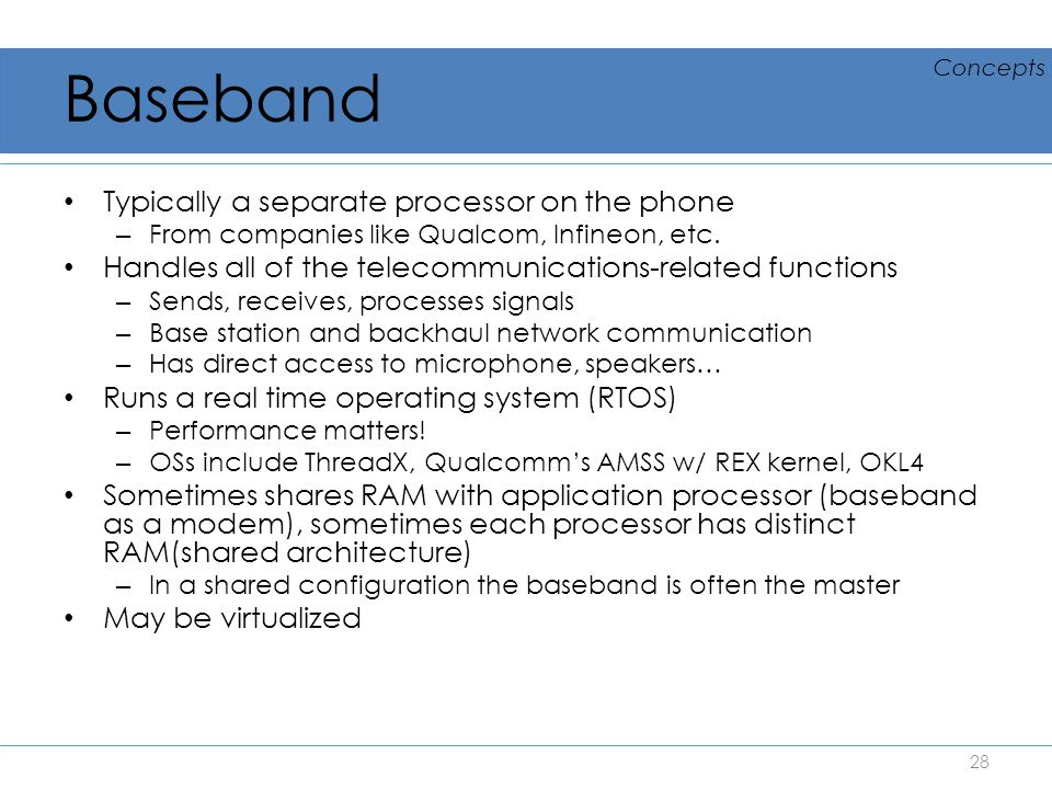 Baseband Typically a separate processor on the phone
