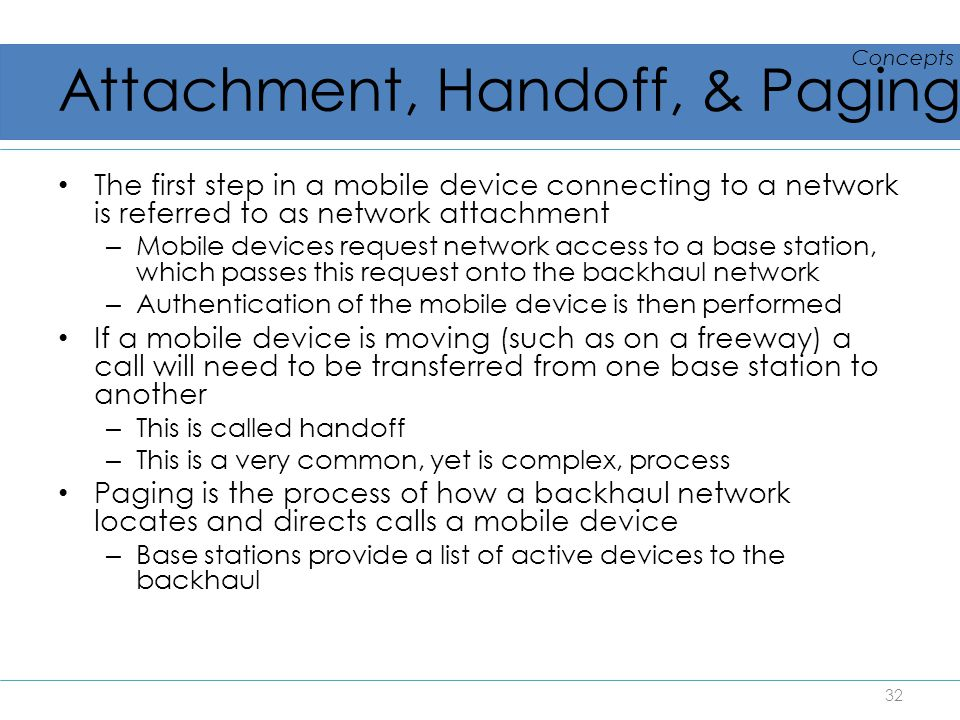Attachment, Handoff, & Paging