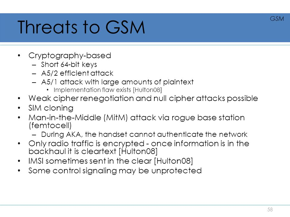 Threats to GSM Cryptography-based