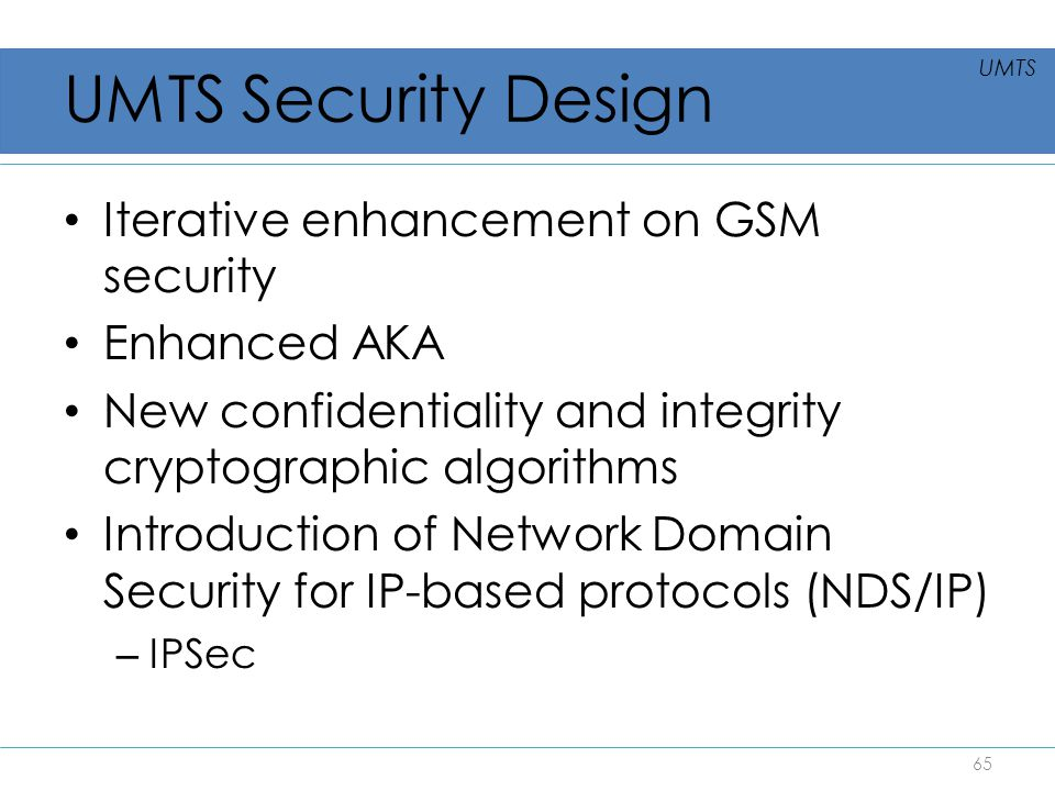 UMTS Security Design Iterative enhancement on GSM security