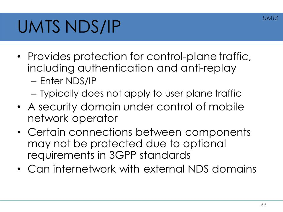 UMTS NDS/IP UMTS. Provides protection for control-plane traffic, including authentication and anti-replay.