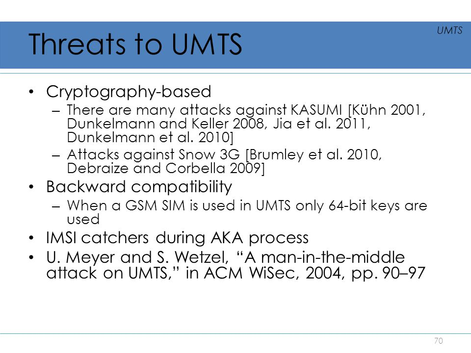 Threats to UMTS Cryptography-based Backward compatibility