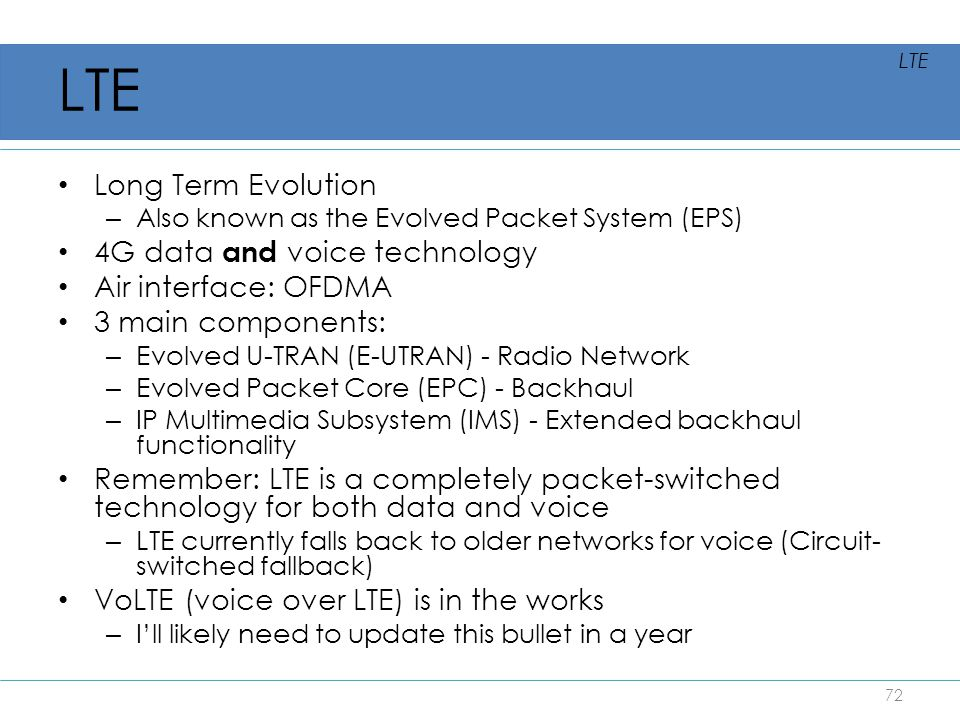 LTE Long Term Evolution 4G data and voice technology