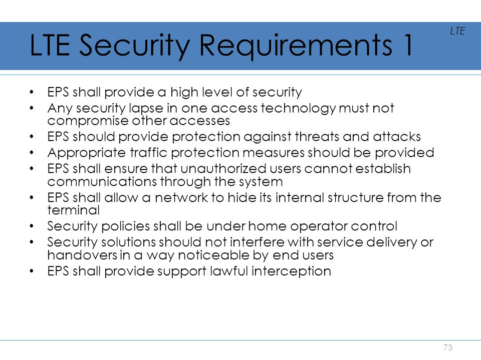 LTE Security Requirements 1