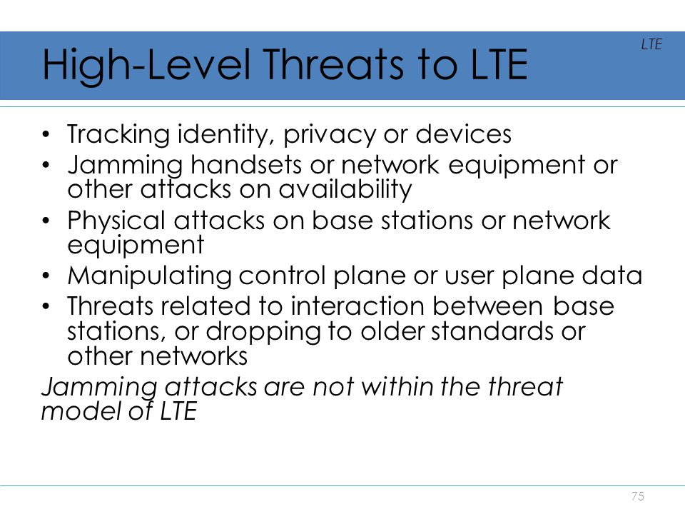 High-Level Threats to LTE
