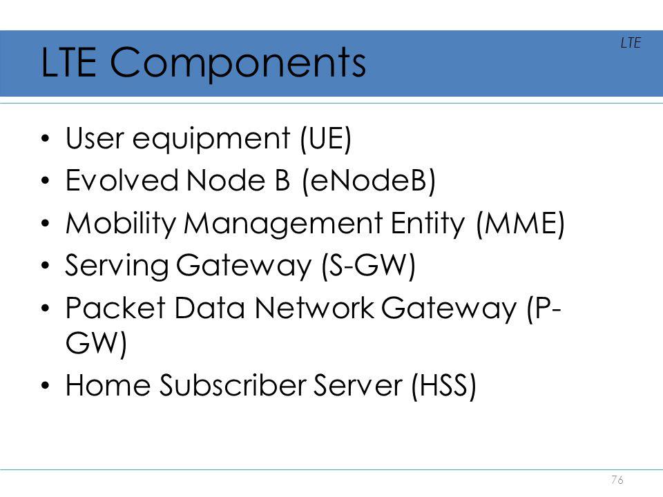 LTE Components User equipment (UE) Evolved Node B (eNodeB)