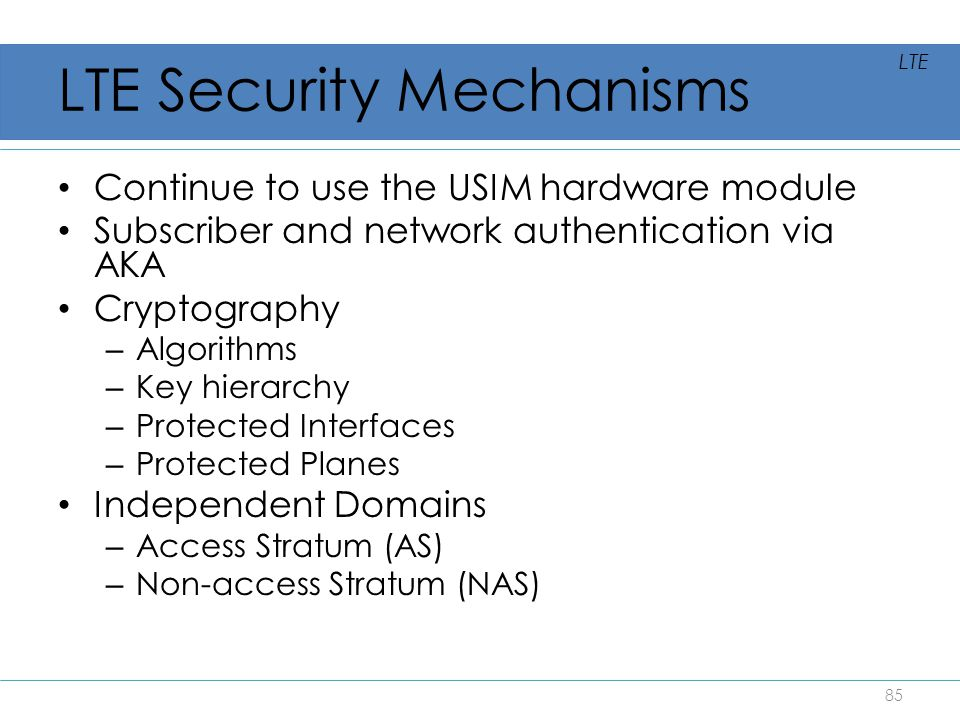 LTE Security Mechanisms