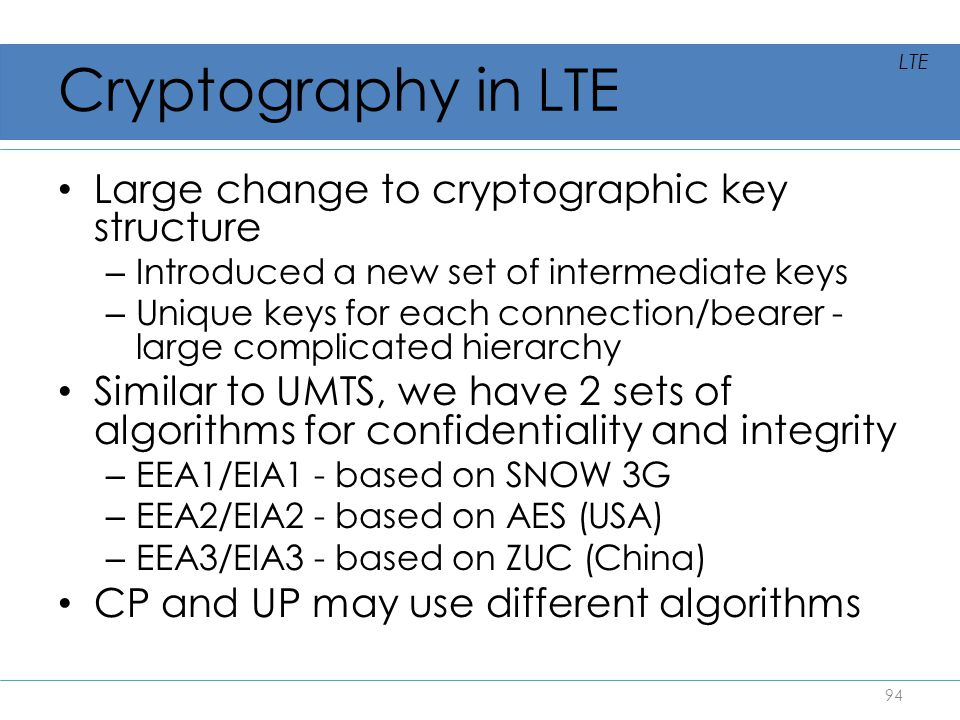 Cryptography in LTE Large change to cryptographic key structure