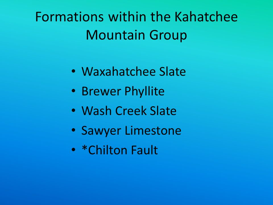 Formations within the Kahatchee Mountain Group