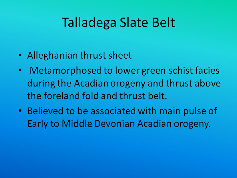 Talladega Slate Belt Alleghanian thrust sheet