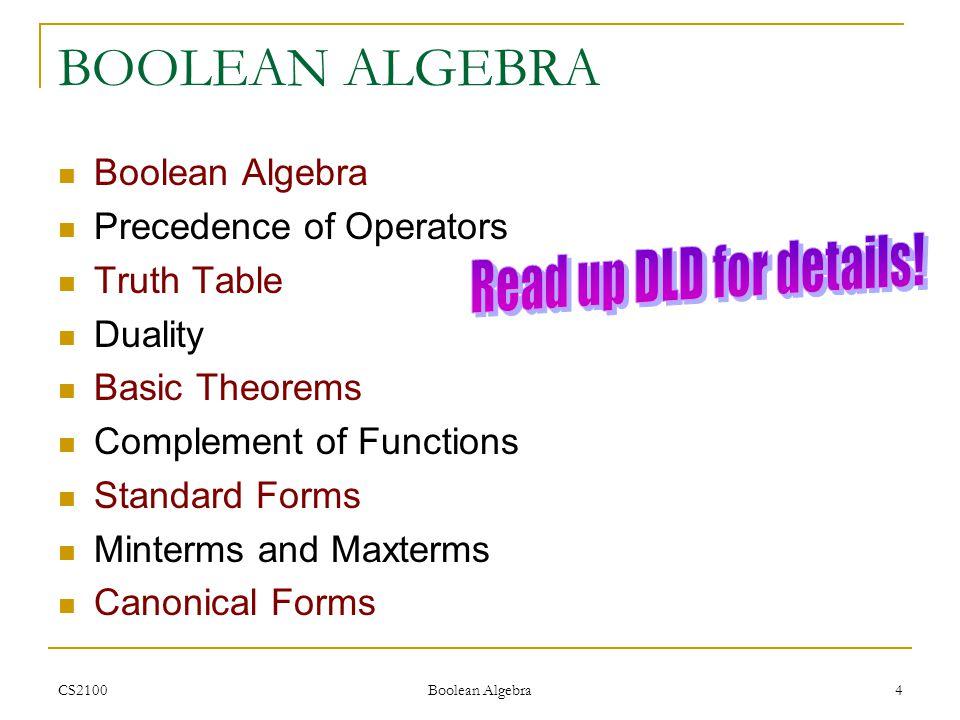 BOOLEAN ALGEBRA Read up DLD for details! Boolean Algebra