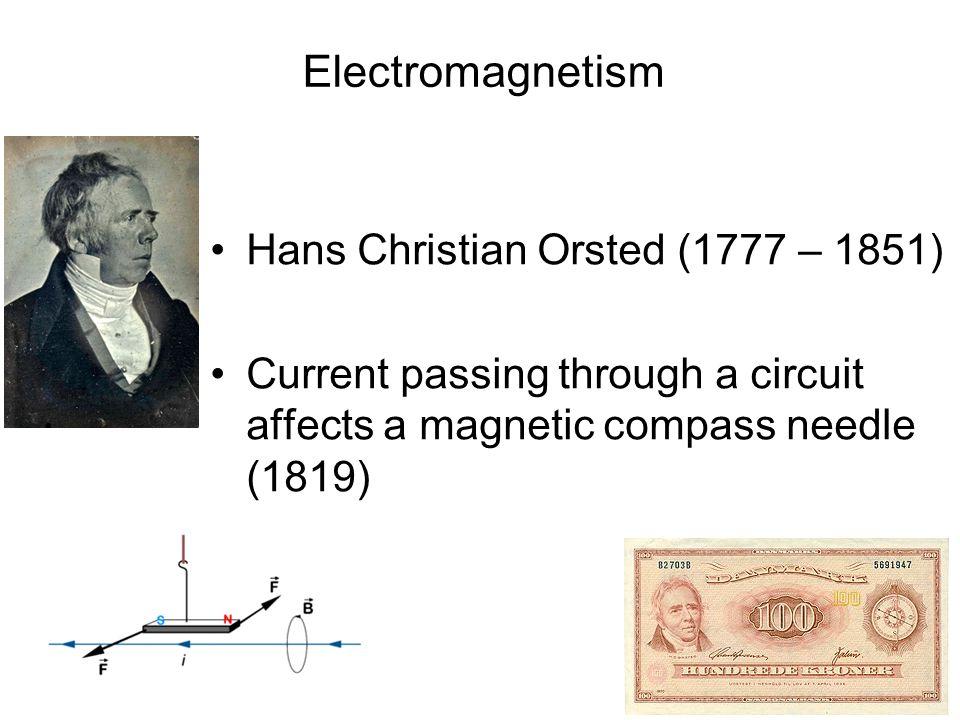 Electromagnetism Hans Christian Orsted (1777 – 1851)