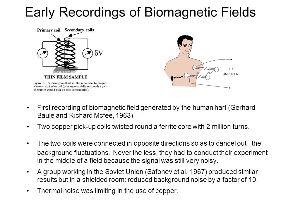 Early Recordings of Biomagnetic Fields
