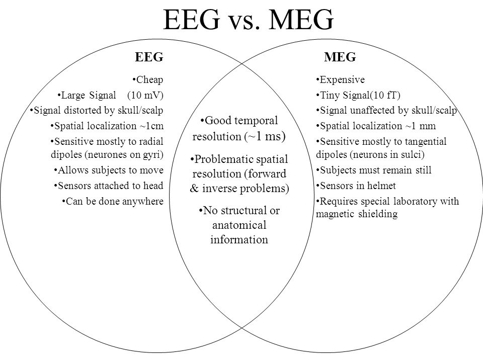 EEG vs. MEG EEG MEG Good temporal resolution (~1 ms)