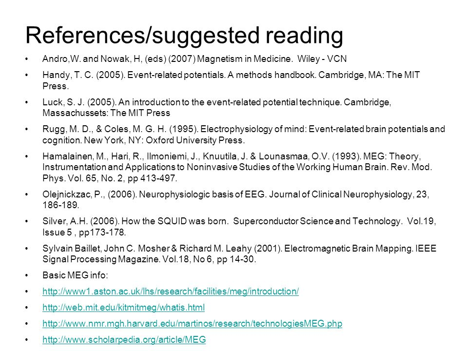 References/suggested reading