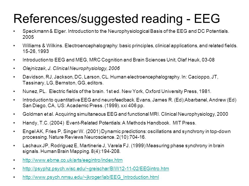 References/suggested reading - EEG