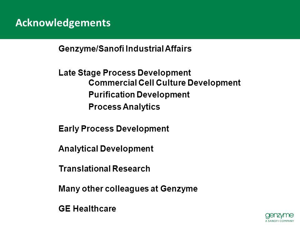 Acknowledgements Genzyme/Sanofi Industrial Affairs