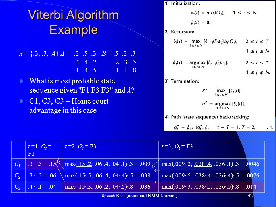 Viterbi Algorithm Example