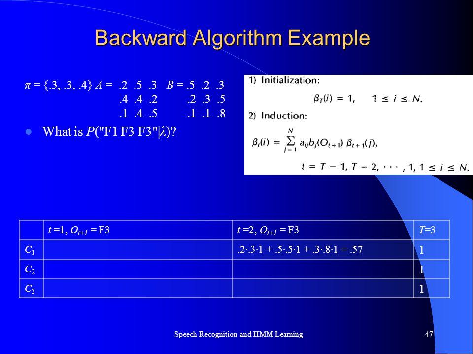 Backward Algorithm Example