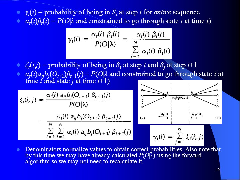 γt(i) = probability of being in Si at step t for entire sequence