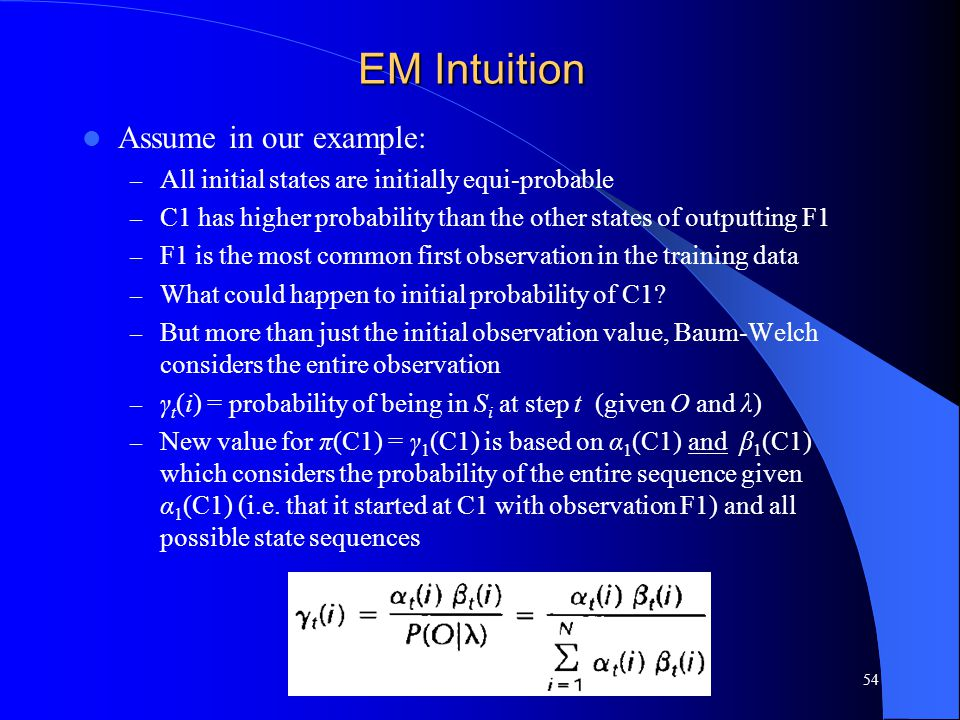 EM Intuition Assume in our example: