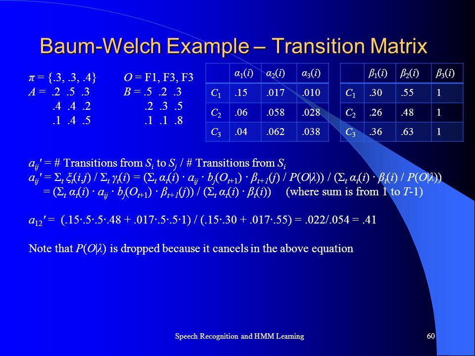 Baum-Welch Example – Transition Matrix