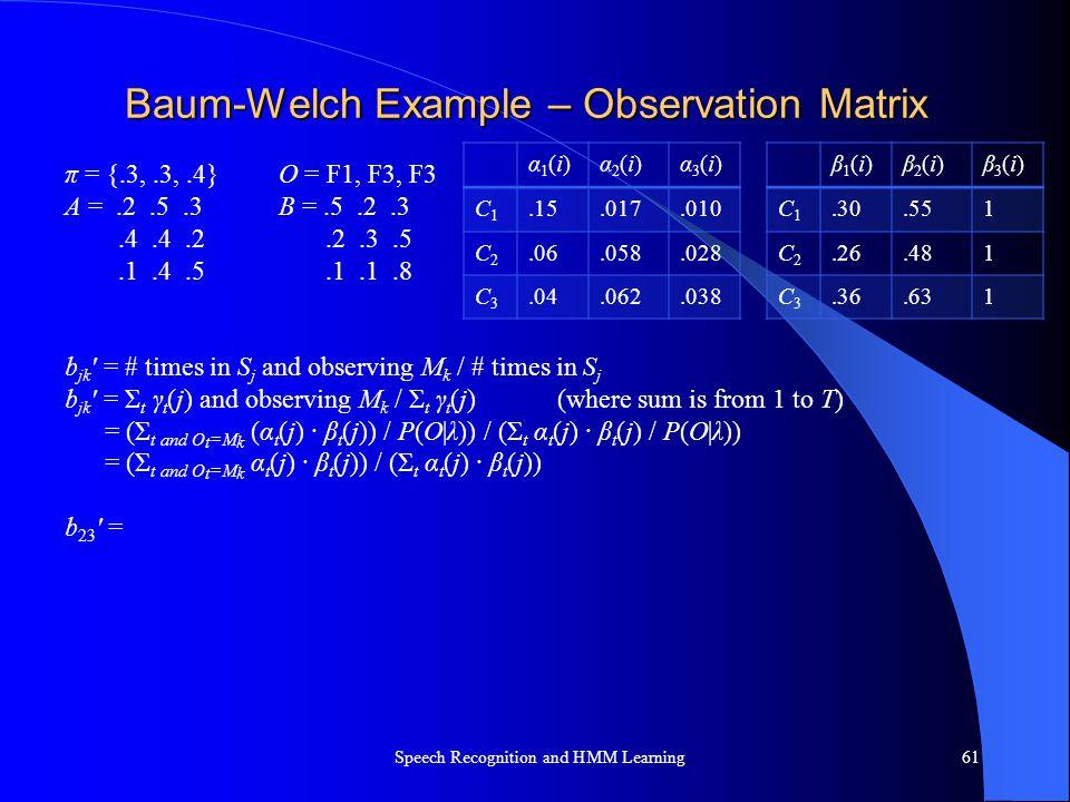 Baum-Welch Example – Observation Matrix