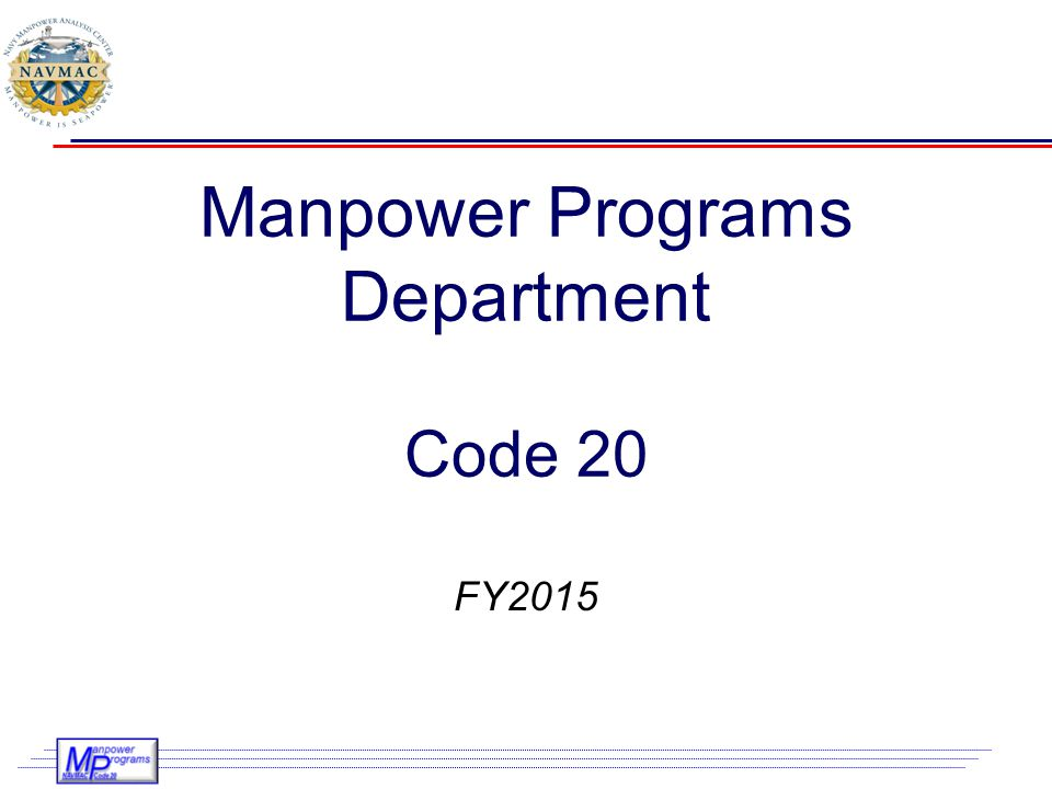 Manpower Programs Department Code 20
