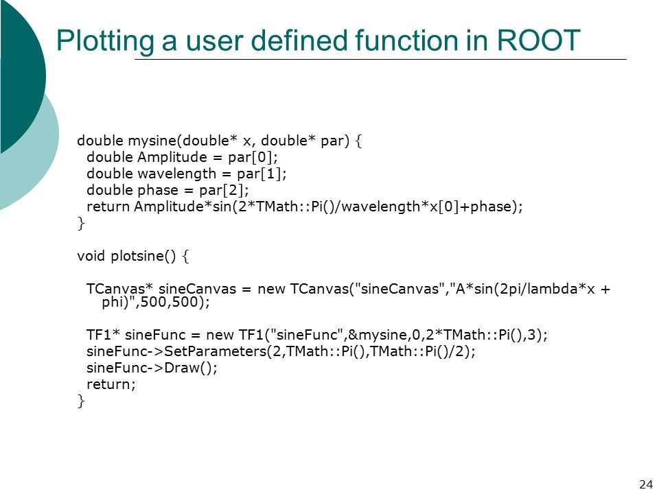 Plotting a user defined function in ROOT