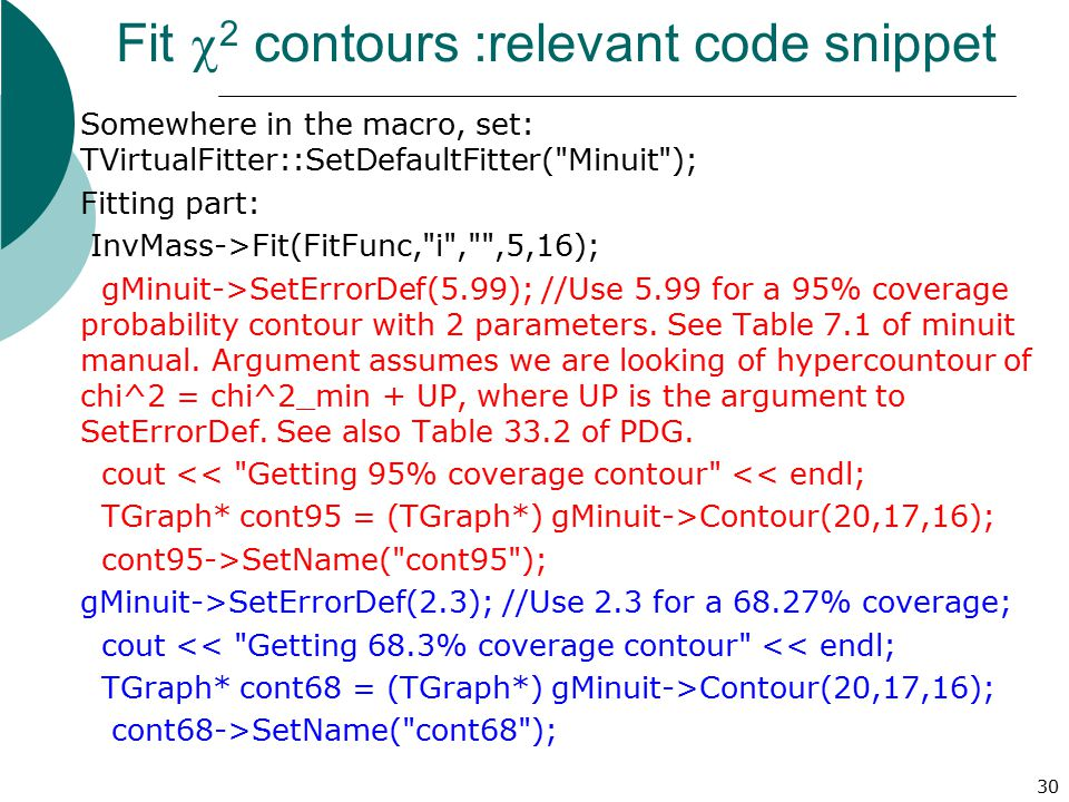 Fit c2 contours :relevant code snippet