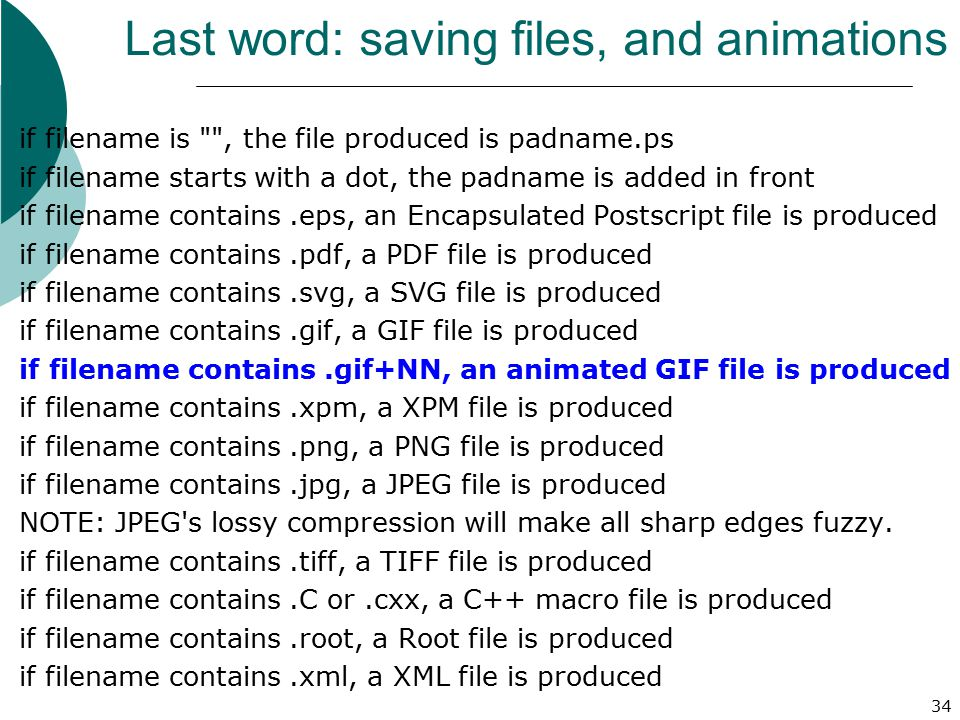 Last word: saving files, and animations