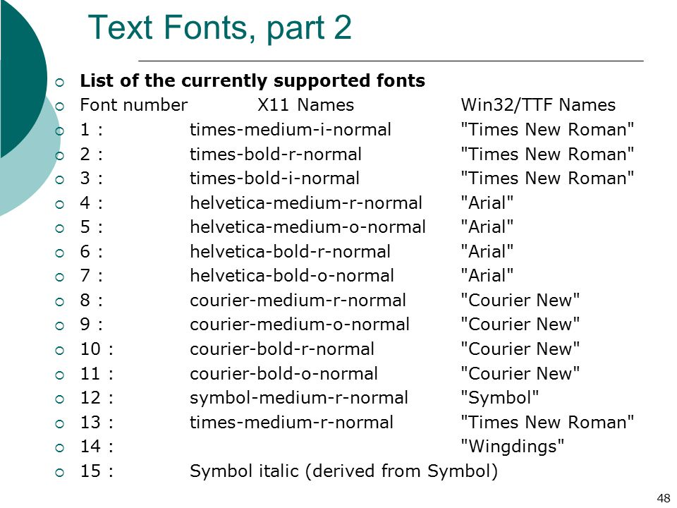 Text Fonts, part 2 List of the currently supported fonts