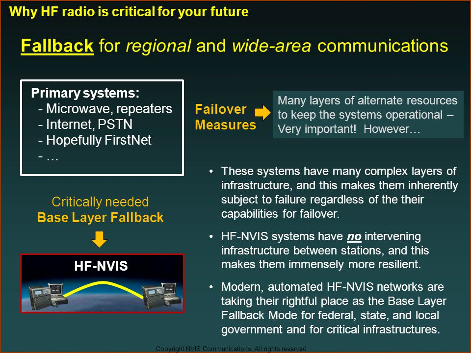Fallback for regional and wide-area communications