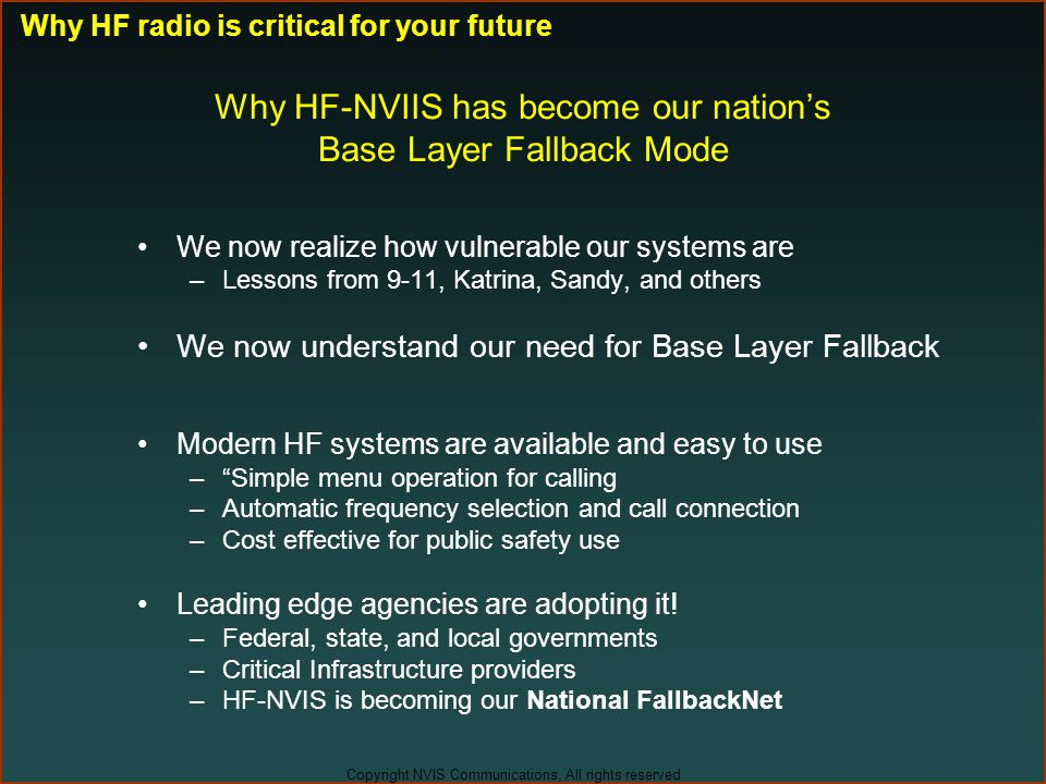 Why HF-NVIIS has become our nation's Base Layer Fallback Mode
