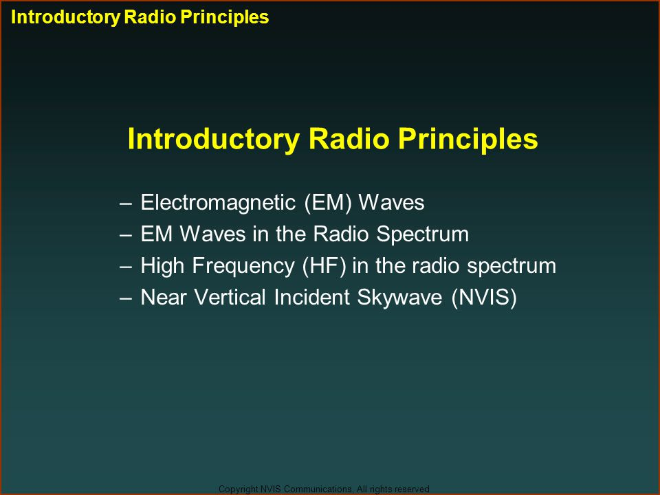 Introductory Radio Principles